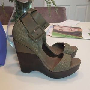 7 FOR ALL MANKIND HIGH HEEL WEDGE SANDALS 5.5